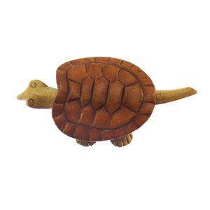 Vintage Leather Turtle Brooch